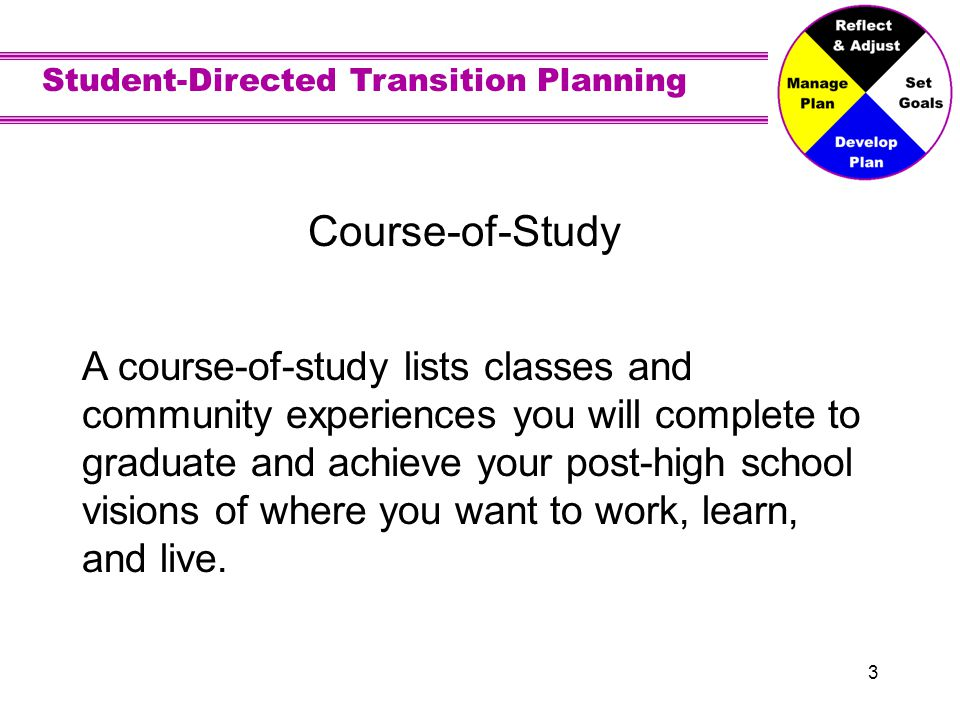 Student-Directed Transition Planning 3 Course-of-Study A course-of-study lists classes and community experiences you will complete to graduate and achieve your post-high school visions of where you want to work, learn, and live.