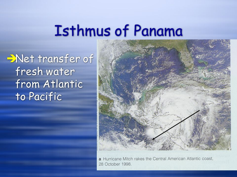 Isthmus of Panama èNet transfer of fresh water from Atlantic to Pacific