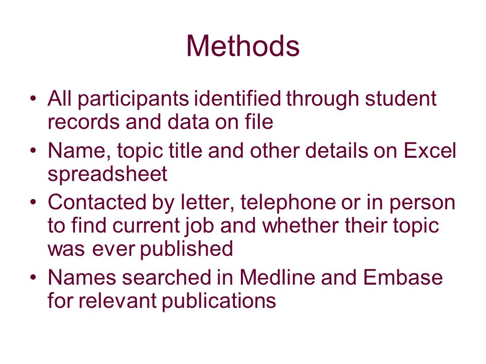 Methods All participants identified through student records and data on file Name, topic title and other details on Excel spreadsheet Contacted by letter, telephone or in person to find current job and whether their topic was ever published Names searched in Medline and Embase for relevant publications