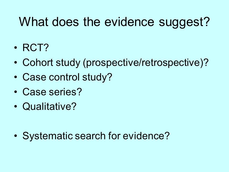 What does the evidence suggest. RCT. Cohort study (prospective/retrospective).