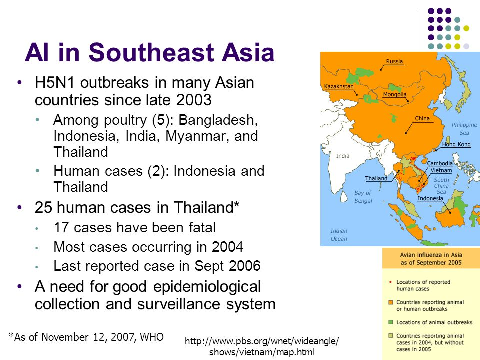 AI in Southeast Asia H5N1 outbreaks in many Asian countries since late 2003 Among poultry (5): Bangladesh, Indonesia, India, Myanmar, and Thailand Human cases (2): Indonesia and Thailand 25 human cases in Thailand* 17 cases have been fatal Most cases occurring in 2004 Last reported case in Sept 2006 A need for good epidemiological collection and surveillance system *As of November 12, 2007, WHO http://www.pbs.org/wnet/wideangle/ shows/vietnam/map.html