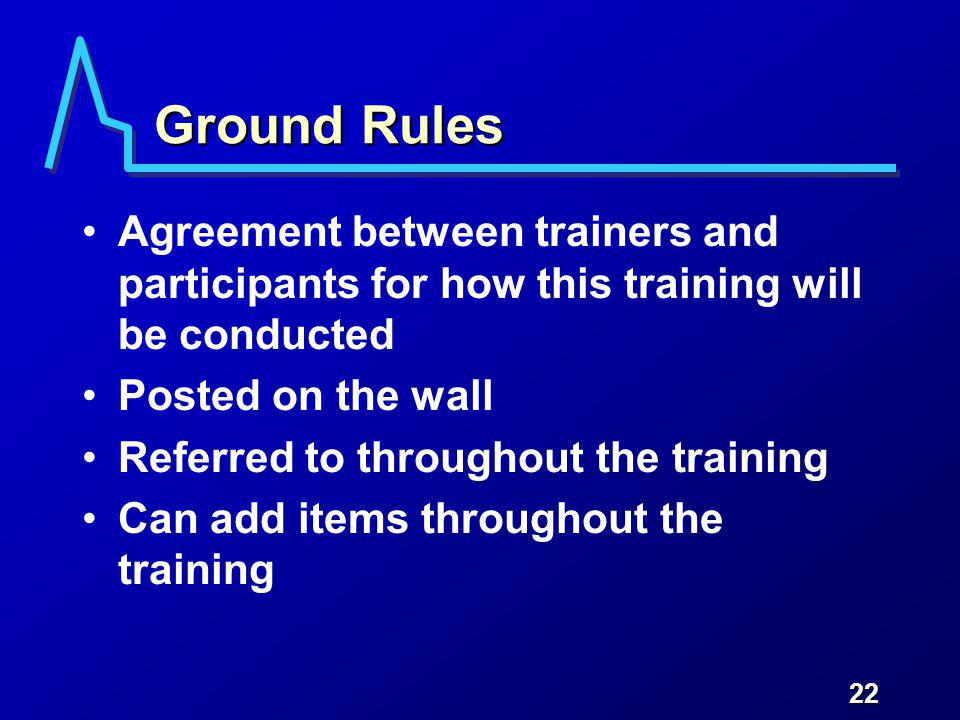 22 Ground Rules Agreement between trainers and participants for how this training will be conducted Posted on the wall Referred to throughout the training Can add items throughout the training