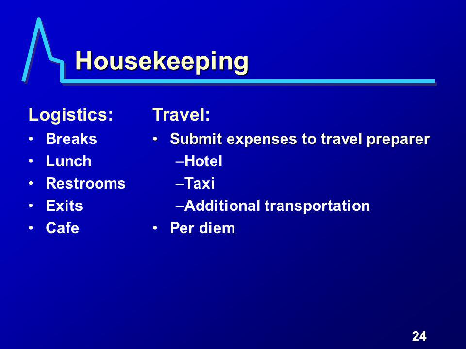 24 Housekeeping Logistics: Breaks Lunch Restrooms Exits Cafe Travel: Submit expenses to travel preparerSubmit expenses to travel preparer –Hotel –Taxi –Additional transportation Per diem