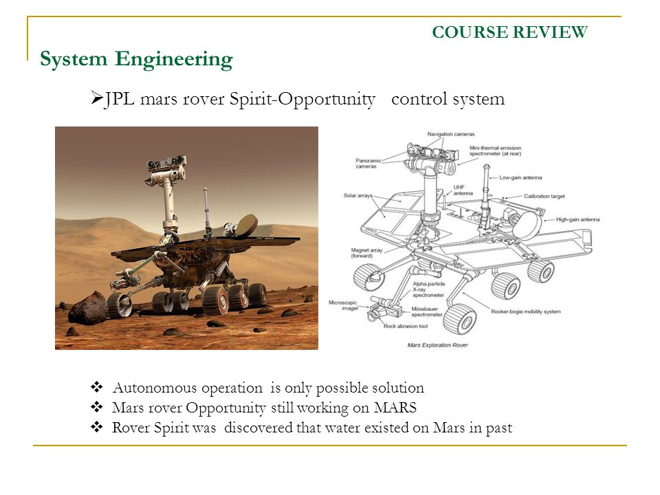 JPL mars rover Spirit-Opportunity control system COURSE REVIEW System Engineering Autonomous operation is only possible solution Mars rover Opportunity still working on MARS Rover Spirit was discovered that water existed on Mars in past