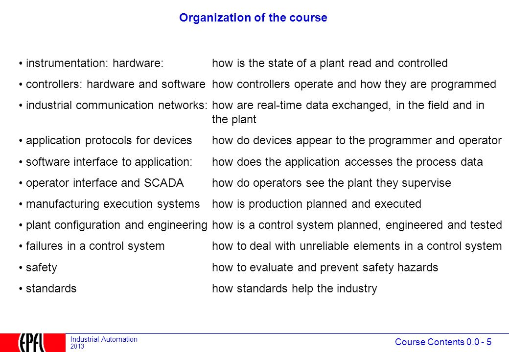 Course Contents 0.0 - 5 Industrial Automation 2013 Organization of the course instrumentation: hardware:how is the state of a plant read and controlled controllers: hardware and softwarehow controllers operate and how they are programmed industrial communication networks:how are real-time data exchanged, in the field and in the plant application protocols for deviceshow do devices appear to the programmer and operator software interface to application:how does the application accesses the process data operator interface and SCADAhow do operators see the plant they supervise manufacturing execution systemshow is production planned and executed plant configuration and engineeringhow is a control system planned, engineered and tested failures in a control systemhow to deal with unreliable elements in a control system safety how to evaluate and prevent safety hazards standardshow standards help the industry