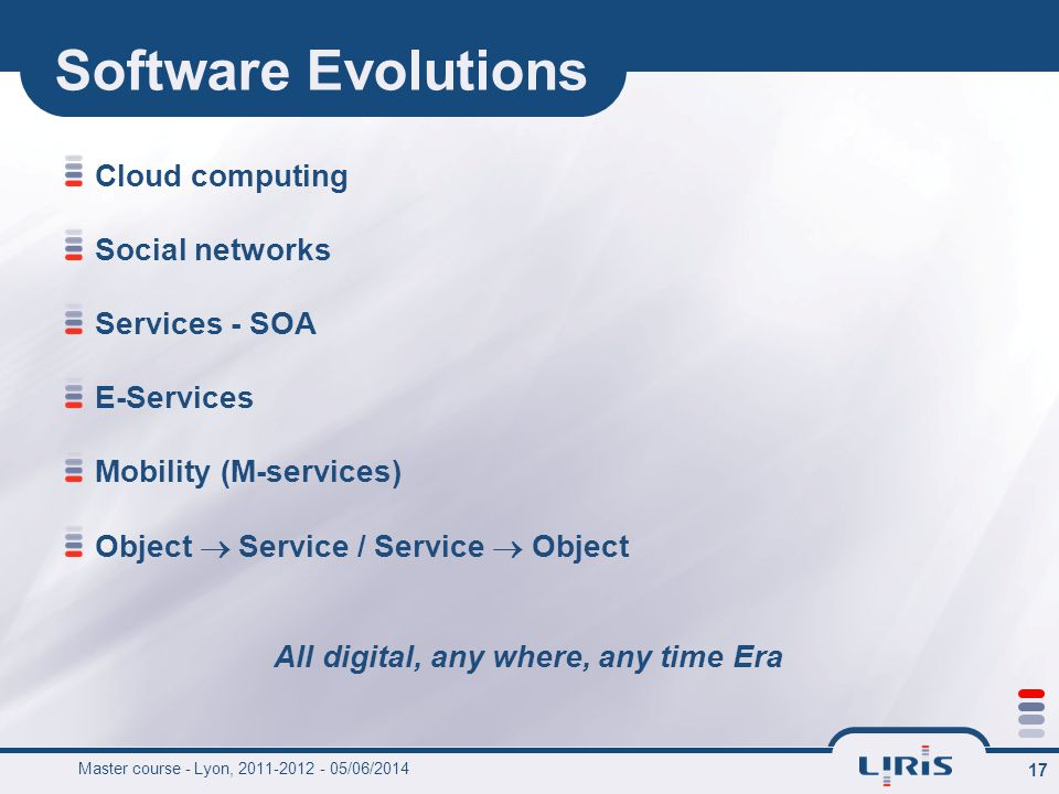 17 Software Evolutions Cloud computing Social networks Services - SOA E-Services Mobility (M-services) Object Service / Service Object All digital, any where, any time Era Master course - Lyon, 2011-2012 - 05/06/2014