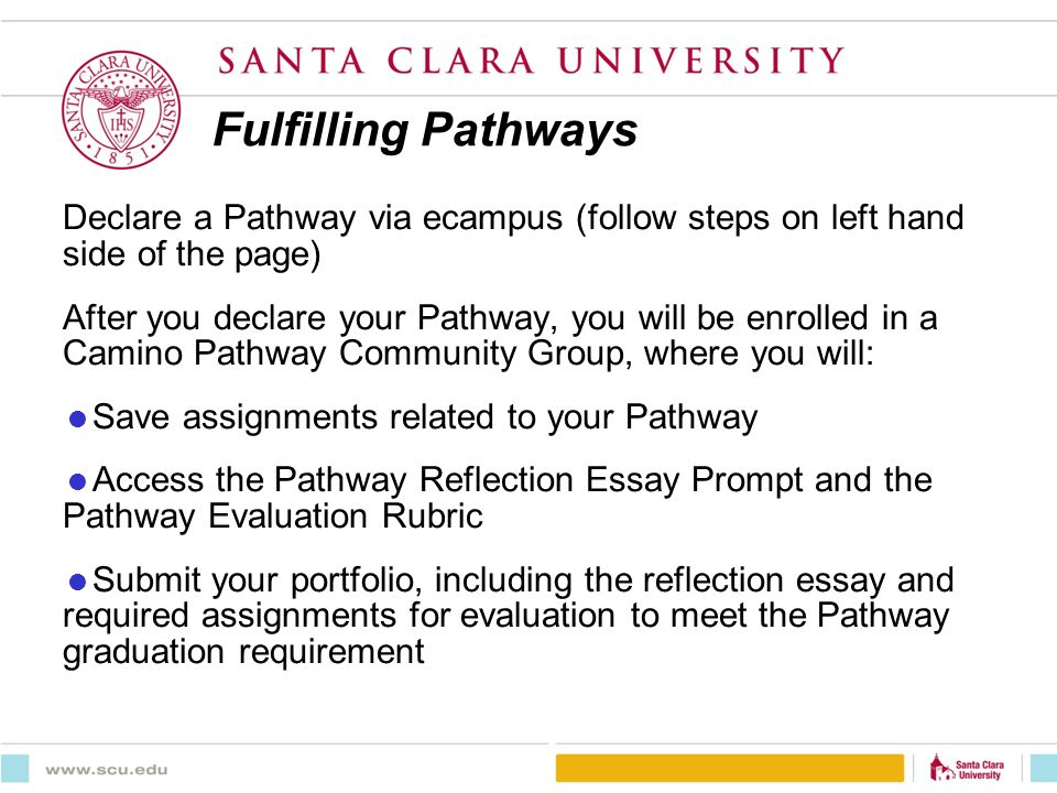 Fulfilling Pathways Declare a Pathway via ecampus (follow steps on left hand side of the page) After you declare your Pathway, you will be enrolled in a Camino Pathway Community Group, where you will: Save assignments related to your Pathway Access the Pathway Reflection Essay Prompt and the Pathway Evaluation Rubric Submit your portfolio, including the reflection essay and required assignments for evaluation to meet the Pathway graduation requirement