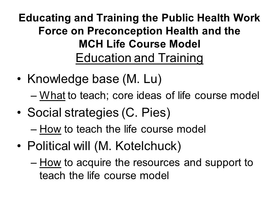 Knowledge base (M. Lu) –What to teach; core ideas of life course model Social strategies (C.
