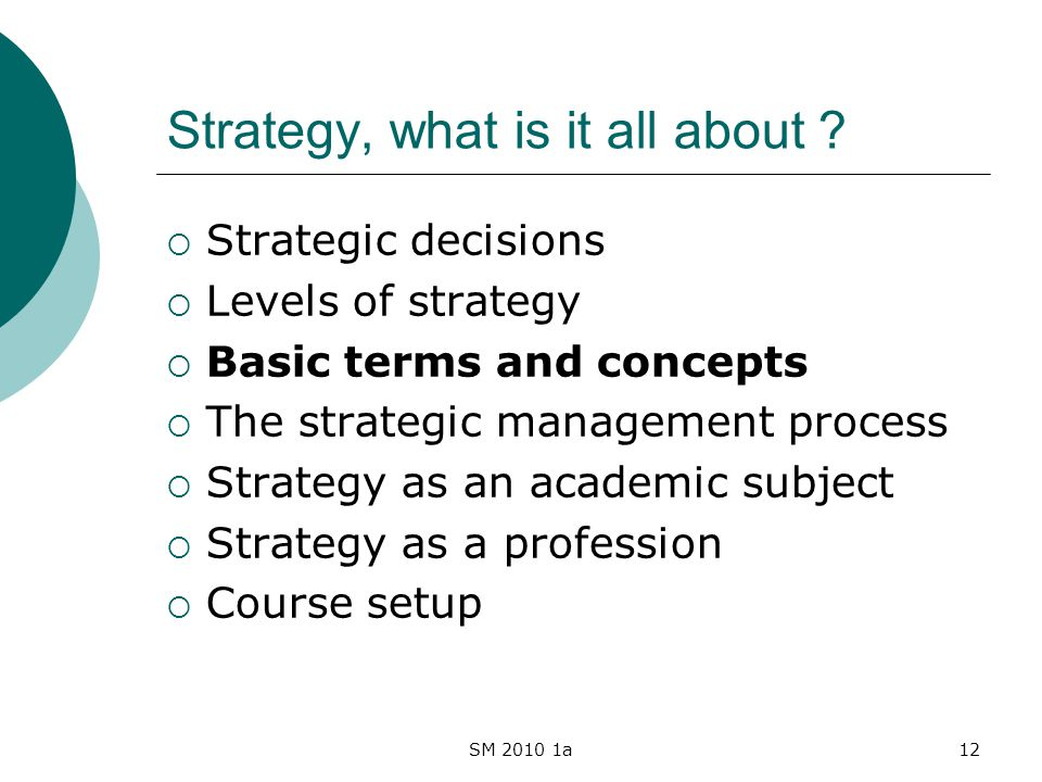 SM 2010 1a12 Strategy, what is it all about .