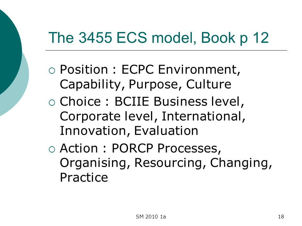 SM 2010 1a18 The 3455 ECS model, Book p 12 Position : ECPC Environment, Capability, Purpose, Culture Choice : BCIIE Business level, Corporate level, International, Innovation, Evaluation Action : PORCP Processes, Organising, Resourcing, Changing, Practice