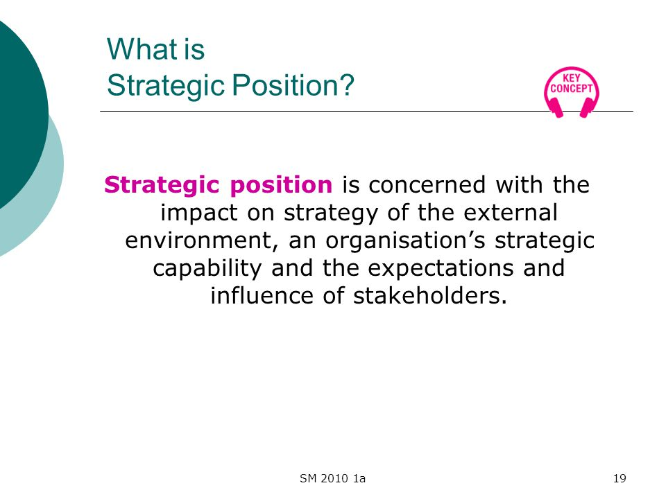 SM 2010 1a19 What is Strategic Position.