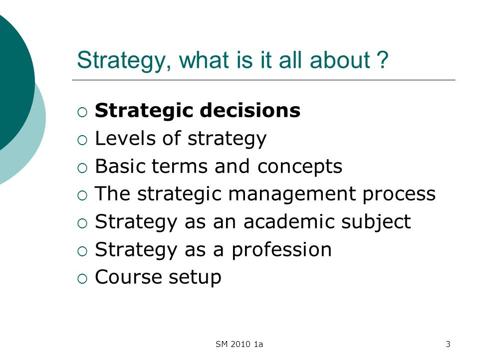 SM 2010 1a3 Strategy, what is it all about .
