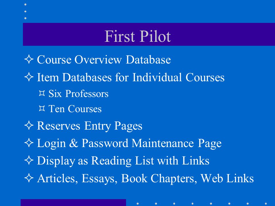 First Pilot Course Overview Database Item Databases for Individual Courses Six Professors Ten Courses Reserves Entry Pages Login & Password Maintenance Page Display as Reading List with Links Articles, Essays, Book Chapters, Web Links
