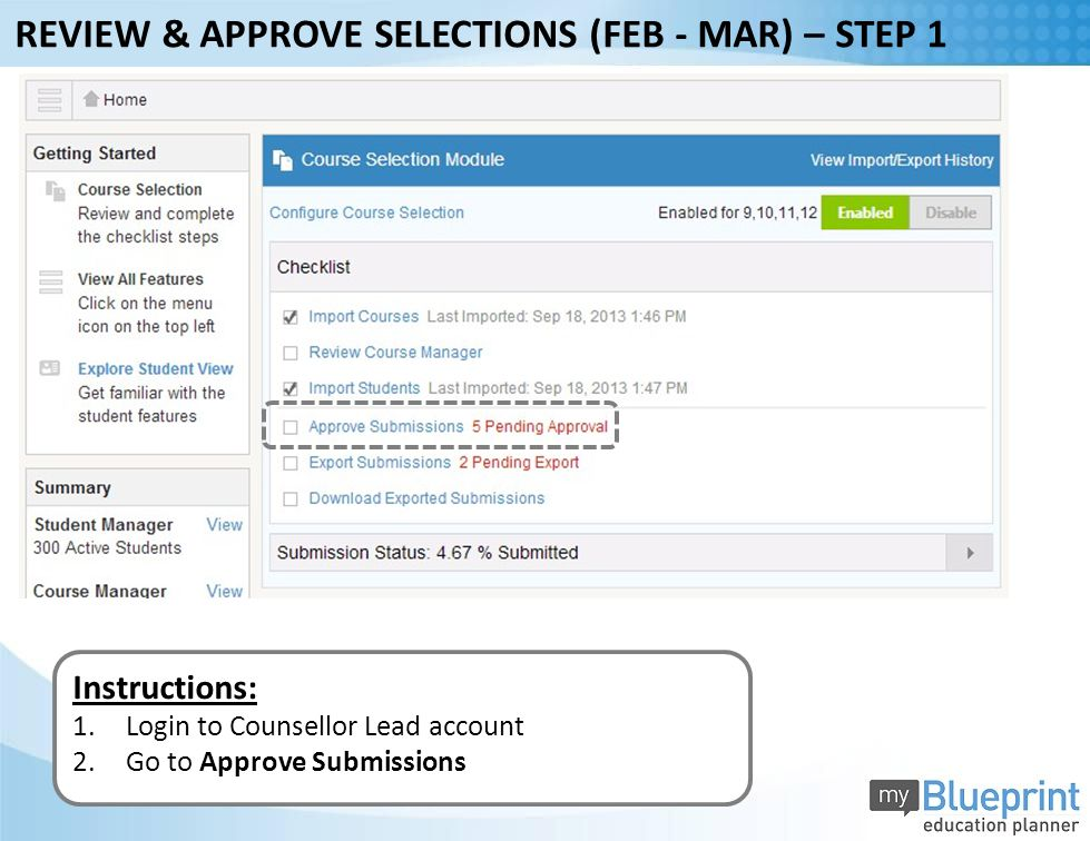 Instructions: 1.Login to Counsellor Lead account 2.Go to Approve Submissions REVIEW & APPROVE SELECTIONS (FEB - MAR) – STEP 1