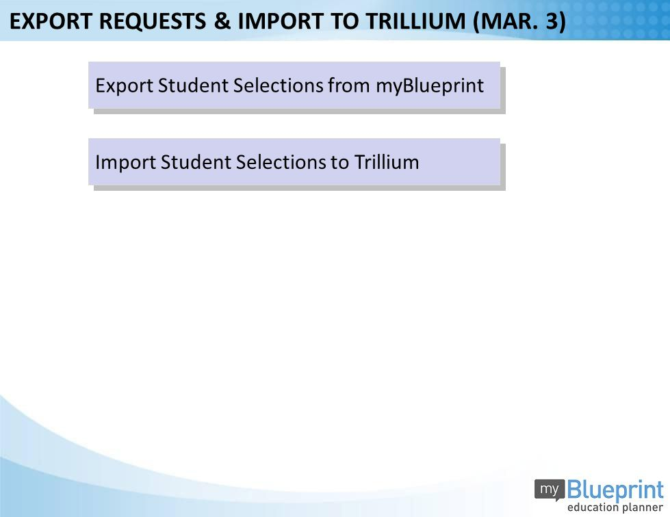 Export Student Selections from myBlueprint Import Student Selections to Trillium EXPORT REQUESTS & IMPORT TO TRILLIUM (MAR.