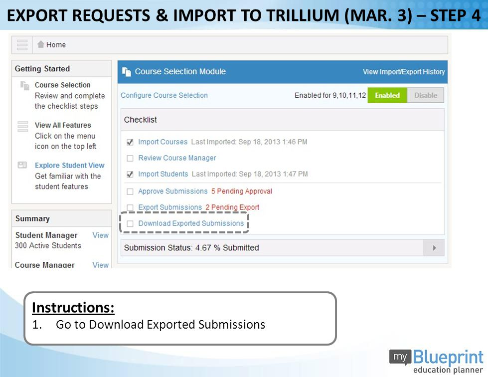 Instructions: 1.Go to Download Exported Submissions EXPORT REQUESTS & IMPORT TO TRILLIUM (MAR.