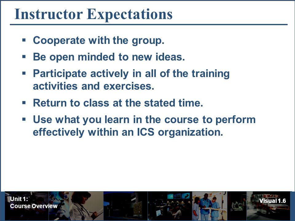 Unit 1: Course Overview Visual 1.6 Instructor Expectations Cooperate with the group.