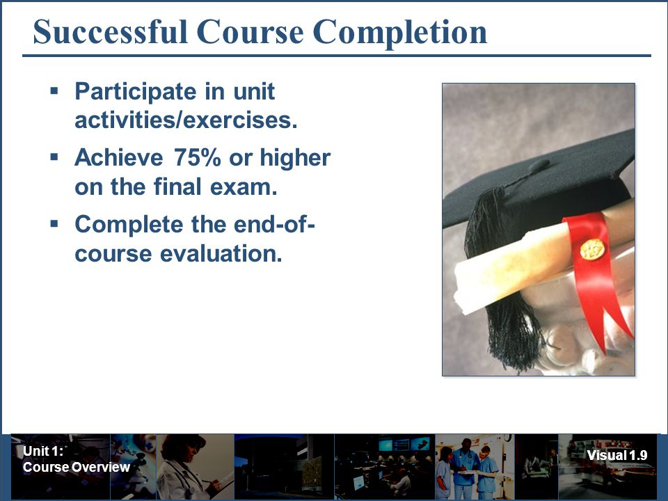 Unit 1: Course Overview Visual 1.9 Successful Course Completion Participate in unit activities/exercises.