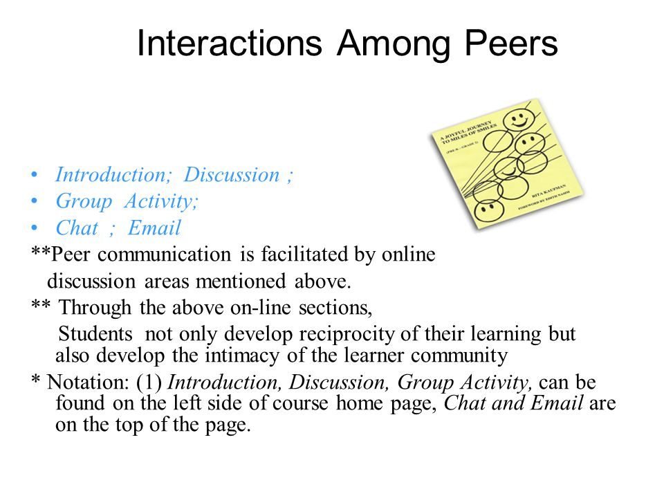 Interactions Among Peers Introduction; Discussion ; Group Activity; Chat ; Email **Peer communication is facilitated by online discussion areas mentioned above.