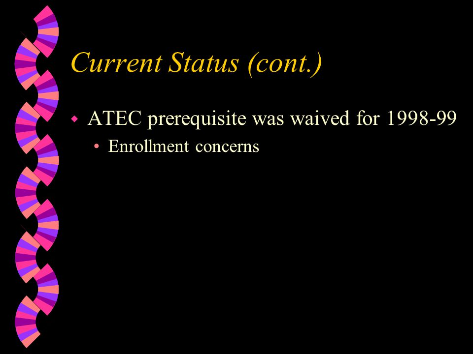 Current Status (cont.) w ATEC prerequisite was waived for 1998-99 Enrollment concerns