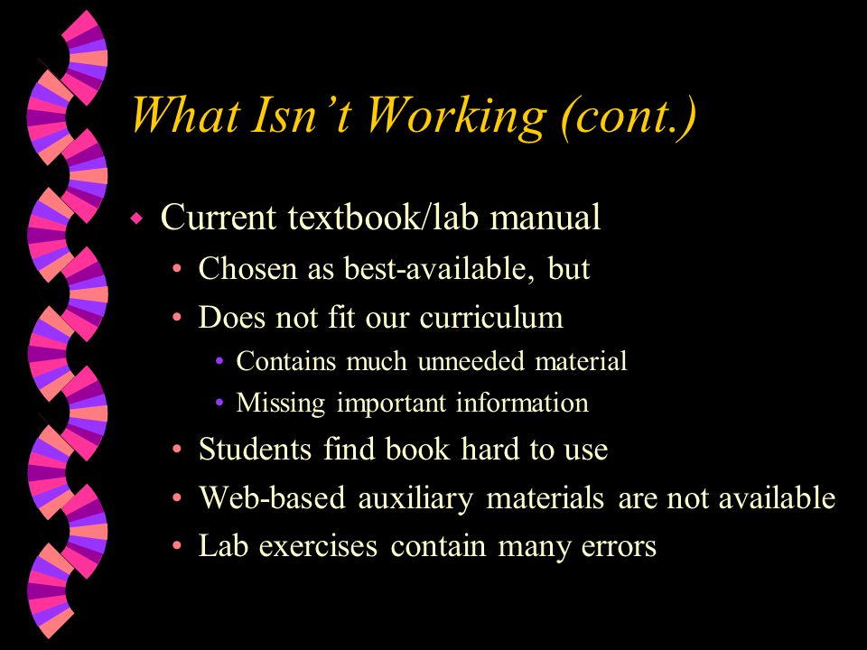 What Isnt Working (cont.) w Current textbook/lab manual Chosen as best-available, but Does not fit our curriculum Contains much unneeded material Missing important information Students find book hard to use Web-based auxiliary materials are not available Lab exercises contain many errors