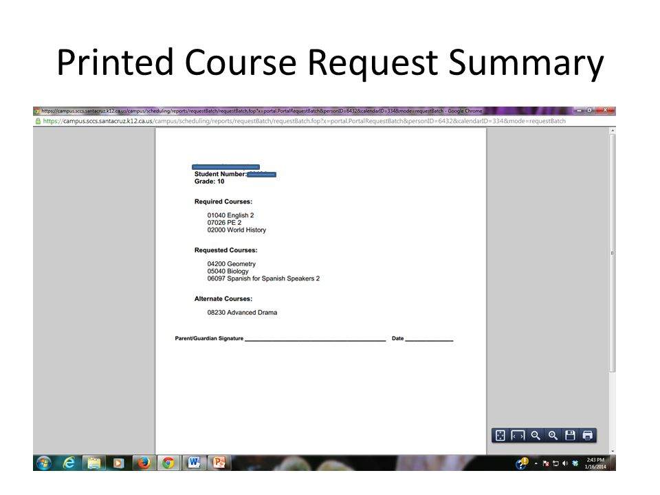 Printed Course Request Summary