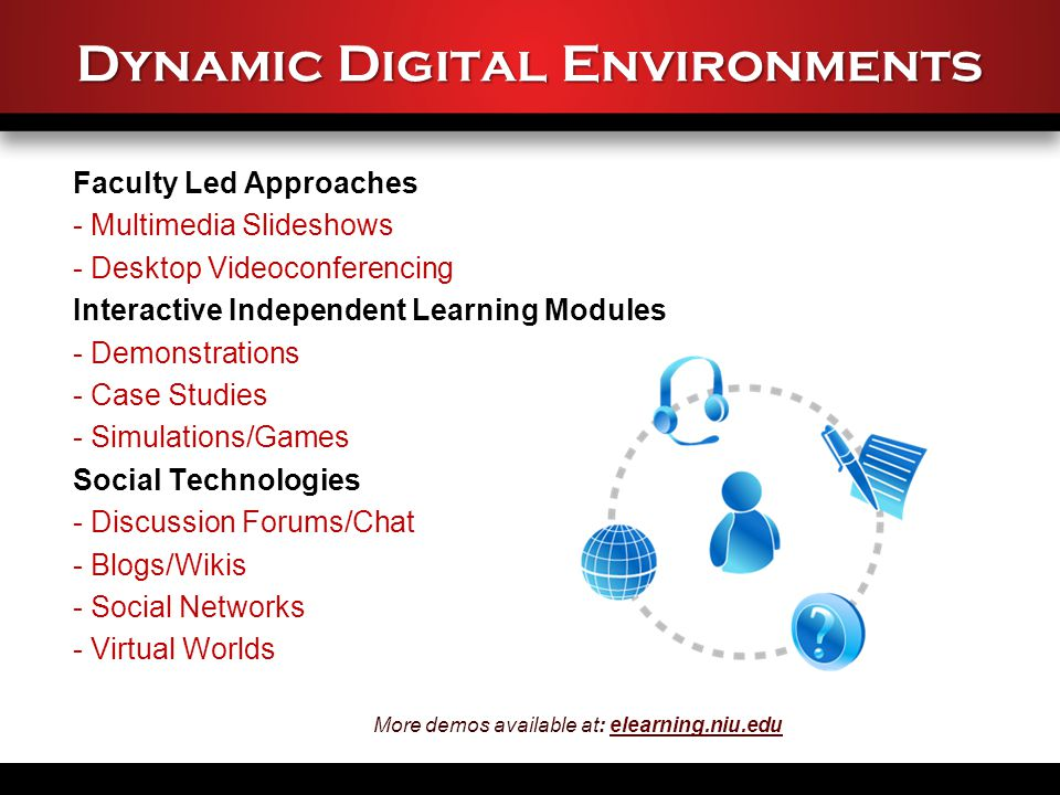 Dynamic Digital Environments Faculty Led Approaches - Multimedia Slideshows - Desktop Videoconferencing Interactive Independent Learning Modules - Demonstrations - Case Studies - Simulations/Games Social Technologies - Discussion Forums/Chat - Blogs/Wikis - Social Networks - Virtual Worlds More demos available at: elearning.niu.eduelearning.niu.edu