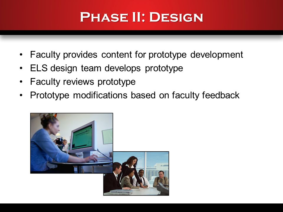 Phase II: Design Faculty provides content for prototype development ELS design team develops prototype Faculty reviews prototype Prototype modifications based on faculty feedback