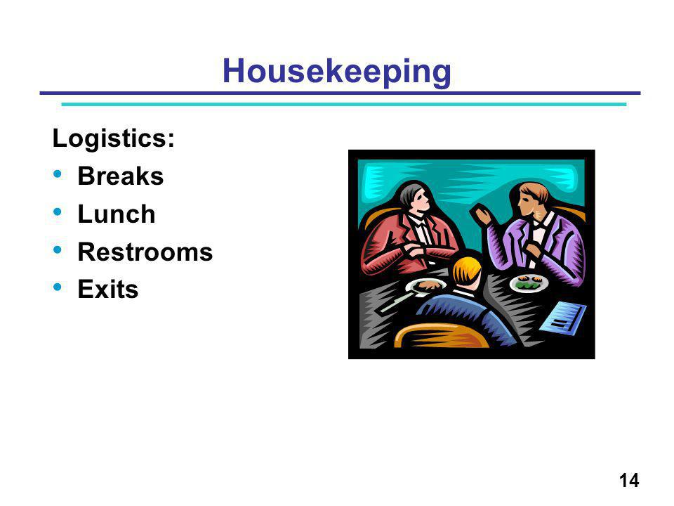 14 Housekeeping Logistics: Breaks Lunch Restrooms Exits