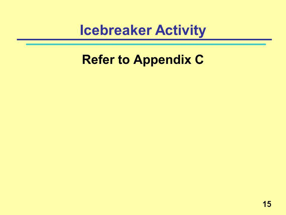 15 Icebreaker Activity Refer to Appendix C