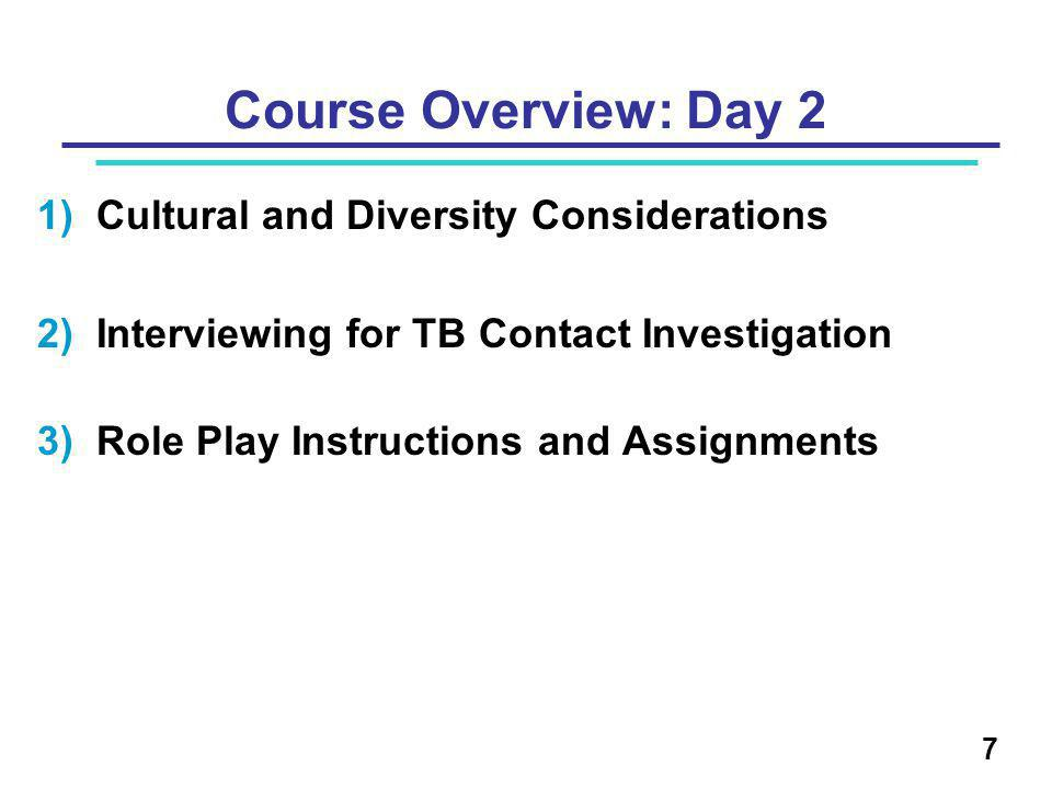 Course Overview: Day 2 1)Cultural and Diversity Considerations 2)Interviewing for TB Contact Investigation 3)Role Play Instructions and Assignments 7