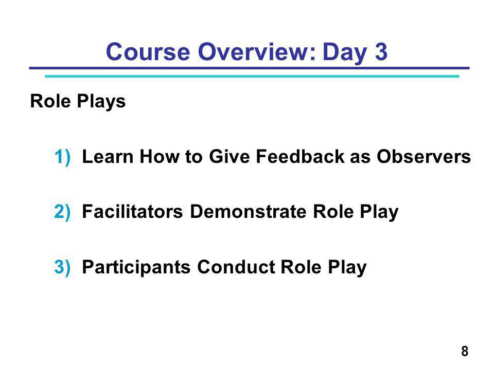 Course Overview: Day 3 Role Plays 1)Learn How to Give Feedback as Observers 2)Facilitators Demonstrate Role Play 3)Participants Conduct Role Play 8