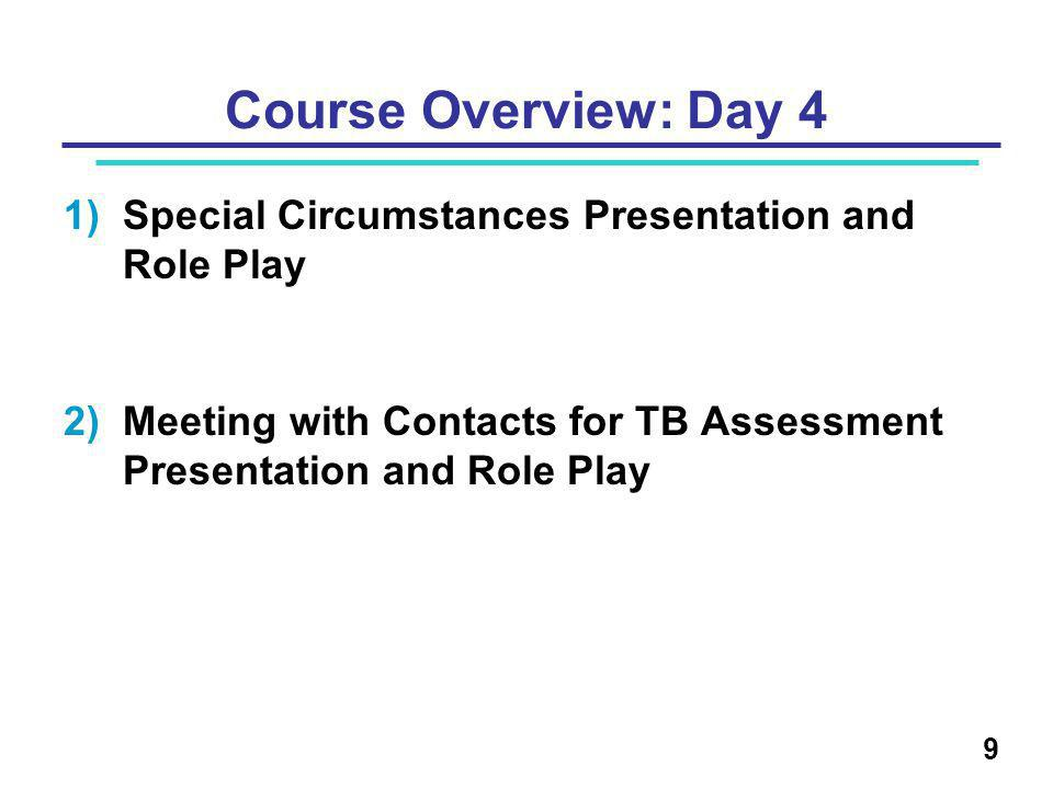 Course Overview: Day 4 1)Special Circumstances Presentation and Role Play 2)Meeting with Contacts for TB Assessment Presentation and Role Play 9