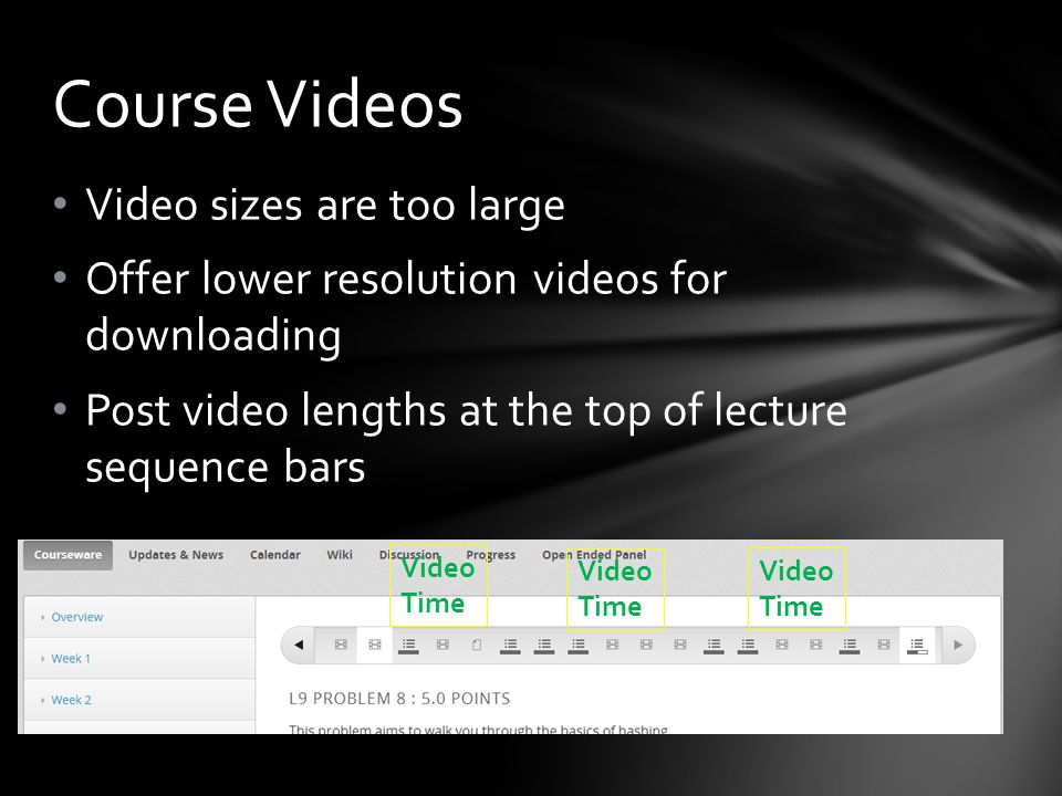 Video sizes are too large Offer lower resolution videos for downloading Post video lengths at the top of lecture sequence bars Course Videos Video Time Video Time Video Time