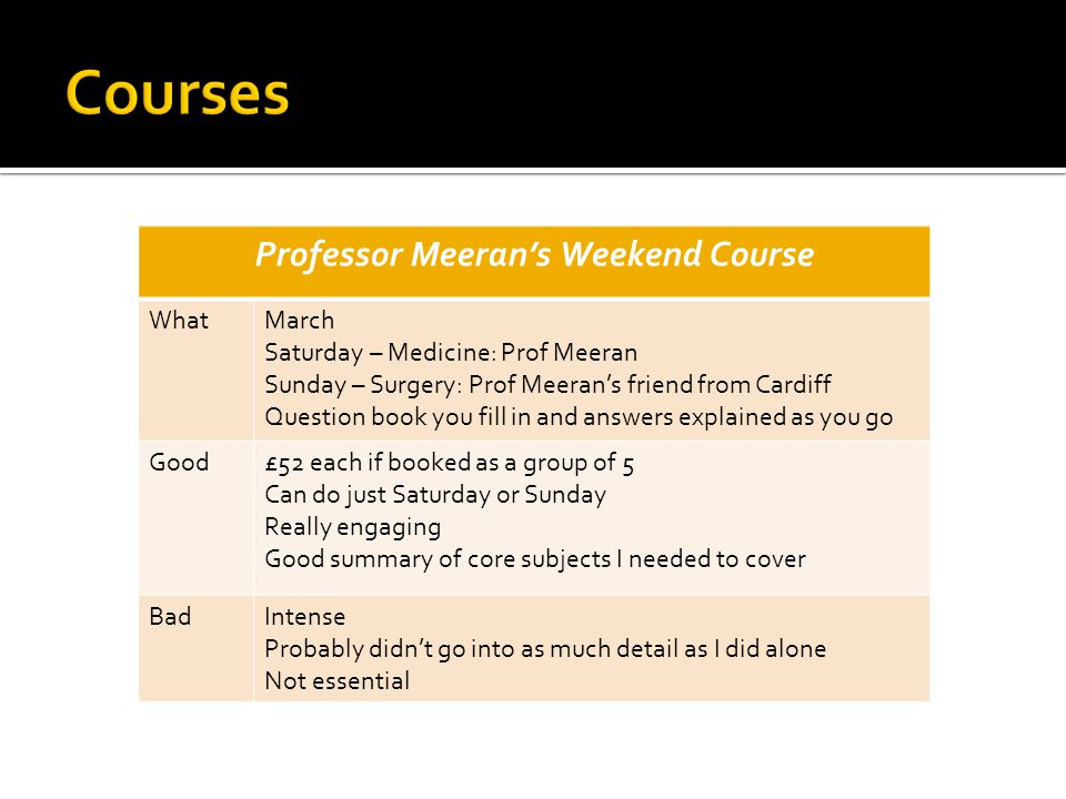 Professor Meerans Weekend Course WhatMarch Saturday – Medicine: Prof Meeran Sunday – Surgery: Prof Meerans friend from Cardiff Question book you fill in and answers explained as you go Good£52 each if booked as a group of 5 Can do just Saturday or Sunday Really engaging Good summary of core subjects I needed to cover BadIntense Probably didnt go into as much detail as I did alone Not essential