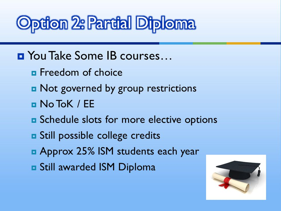 You Take Some IB courses… Freedom of choice Not governed by group restrictions No ToK / EE Schedule slots for more elective options Still possible college credits Approx 25% ISM students each year Still awarded ISM Diploma