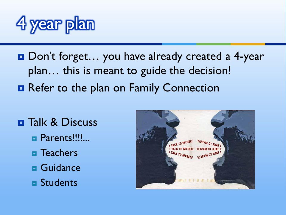 Dont forget… you have already created a 4-year plan… this is meant to guide the decision.