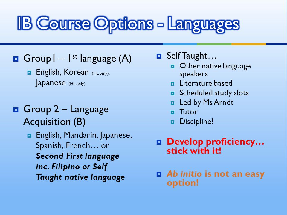 Self Taught… Other native language speakers Literature based Scheduled study slots Led by Ms Arndt Tutor Discipline.