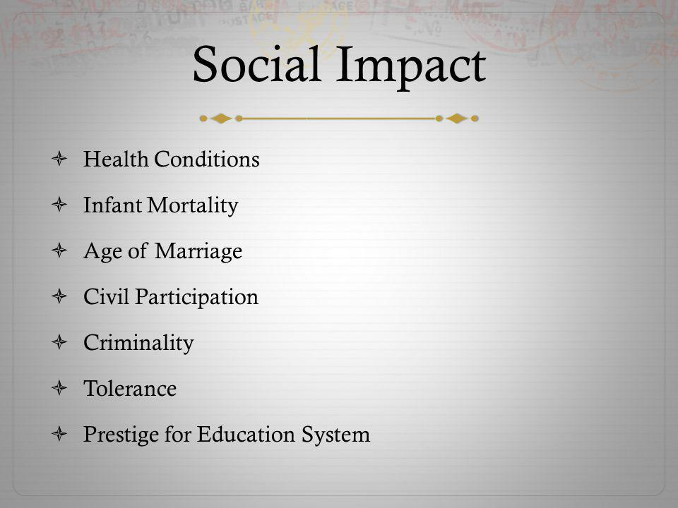 Social Impact Health Conditions Infant Mortality Age of Marriage Civil Participation Criminality Tolerance Prestige for Education System