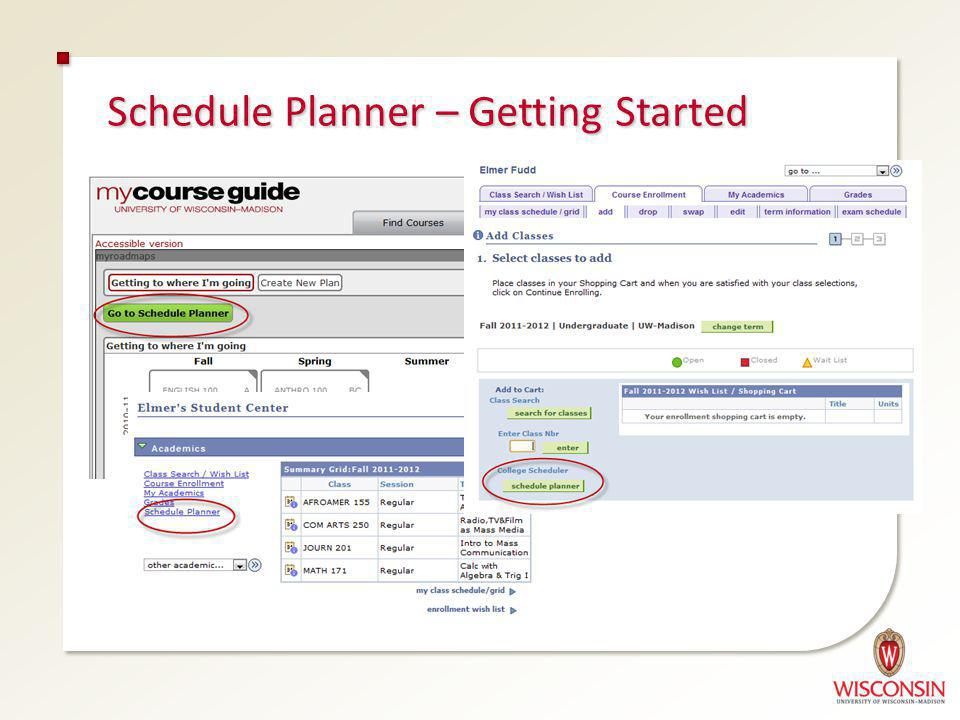 Schedule Planner – Getting Started