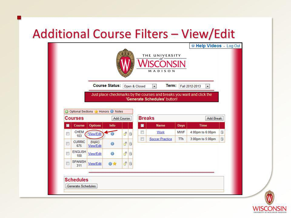 Additional Course Filters – View/Edit