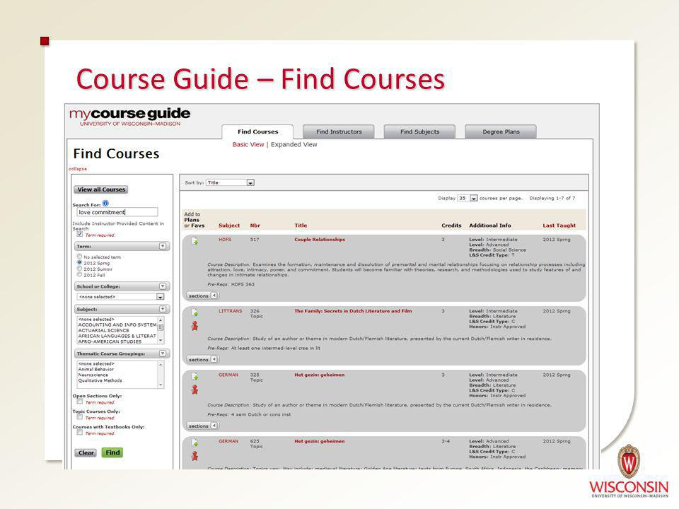 Course Guide – Find Courses
