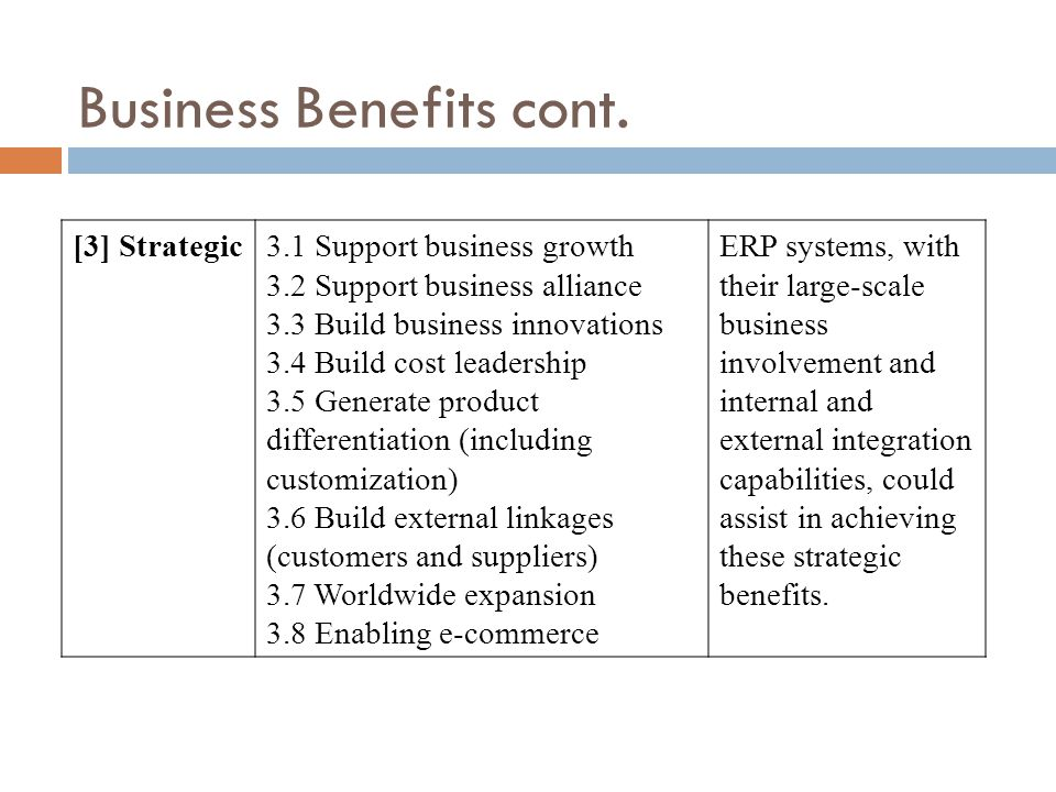 [3] Strategic3.1 Support business growth 3.2 Support business alliance 3.3 Build business innovations 3.4 Build cost leadership 3.5 Generate product differentiation (including customization) 3.6 Build external linkages (customers and suppliers) 3.7 Worldwide expansion 3.8 Enabling e-commerce ERP systems, with their large-scale business involvement and internal and external integration capabilities, could assist in achieving these strategic benefits.