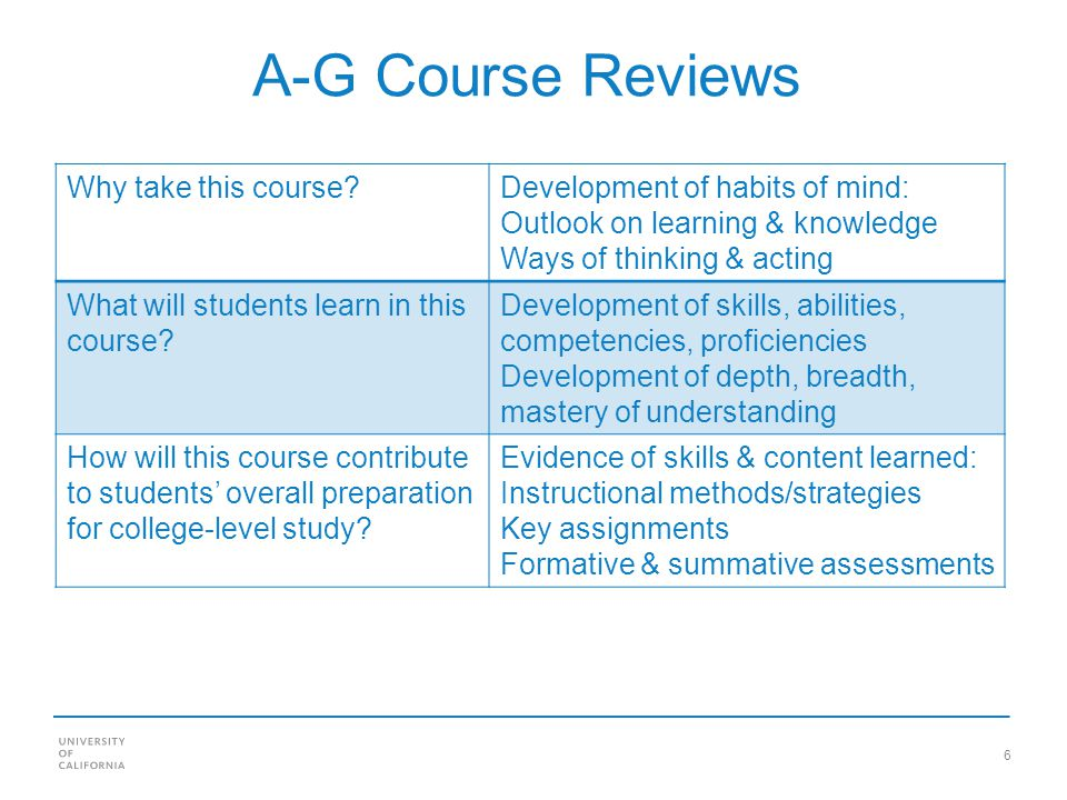 6 A-G Course Reviews Why take this course Development of habits of mind: Outlook on learning & knowledge Ways of thinking & acting What will students learn in this course.