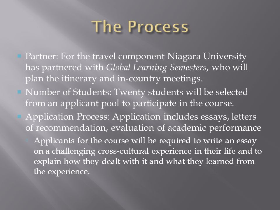 Partner: For the travel component Niagara University has partnered with Global Learning Semesters, who will plan the itinerary and in-country meetings.