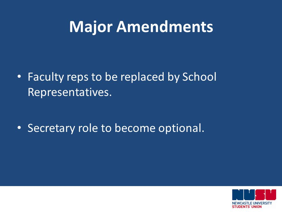 Major Amendments Faculty reps to be replaced by School Representatives.