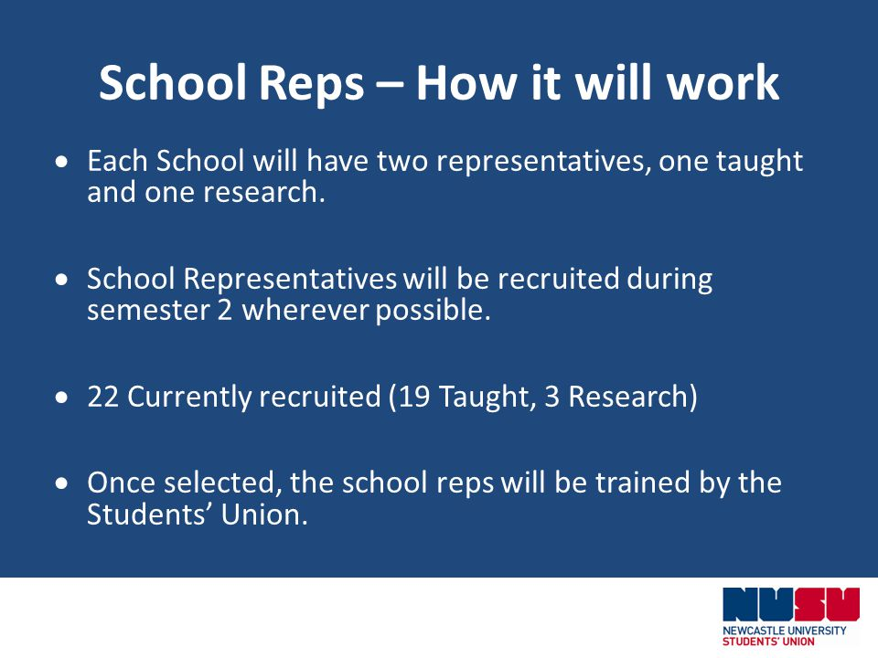 School Reps – How it will work Each School will have two representatives, one taught and one research.