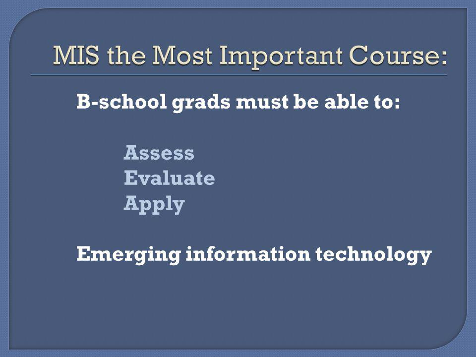 B-school grads must be able to: Assess Evaluate Apply Emerging information technology
