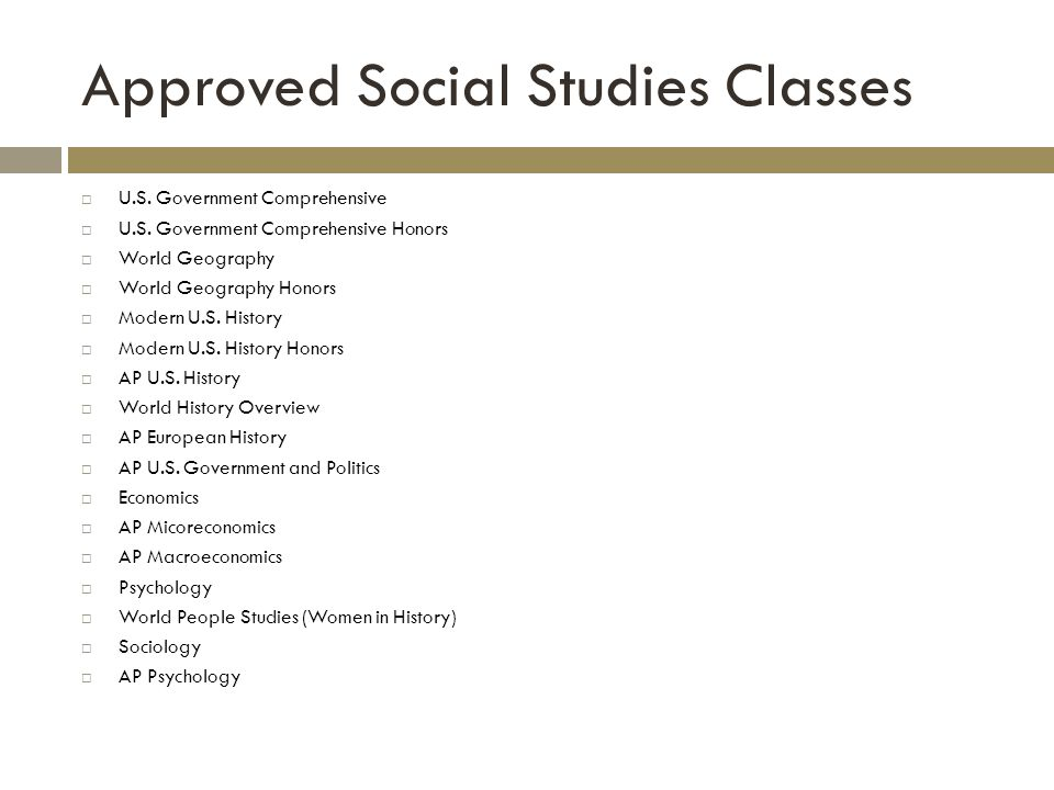 Approved Social Studies Classes U.S. Government Comprehensive U.S.
