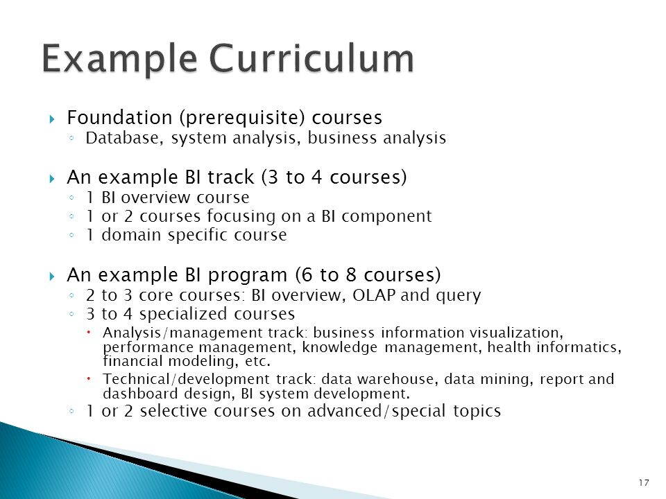 Foundation (prerequisite) courses Database, system analysis, business analysis An example BI track (3 to 4 courses) 1 BI overview course 1 or 2 courses focusing on a BI component 1 domain specific course An example BI program (6 to 8 courses) 2 to 3 core courses: BI overview, OLAP and query 3 to 4 specialized courses Analysis/management track: business information visualization, performance management, knowledge management, health informatics, financial modeling, etc.